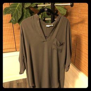 Olive Green Lush Roll Tab Sleeve Tunic Shirt